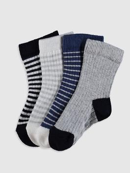 GREY - 4-pack Baby Boy's Ankle Socks