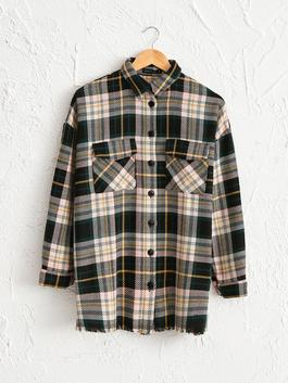 PINK - Plaid Patterned Loose Thick Shirt
