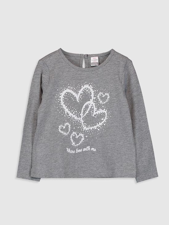 ANTHRACITE - Baby Girl's Printed Cotton T-Shirt - 0W4160Z1