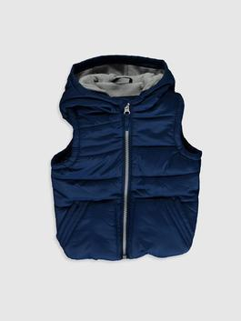 NAVY - Baby Boy's Zip-Down Vest with Hood