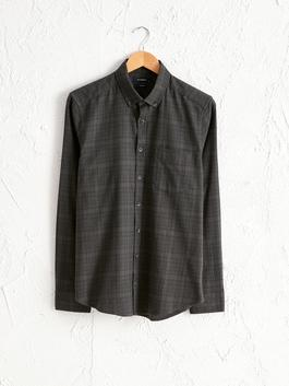 BLACK - Slim Fit Long Sleeve Chequered Gabardine Shirt