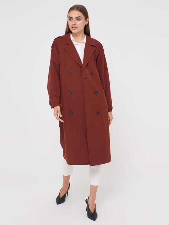 BROWN - Collared Trenchcoat with Button Detail - 0WCY25Z8