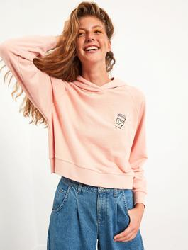 PINK - XSIDE Embroidered Collar Hooded Crop Sweatshirt