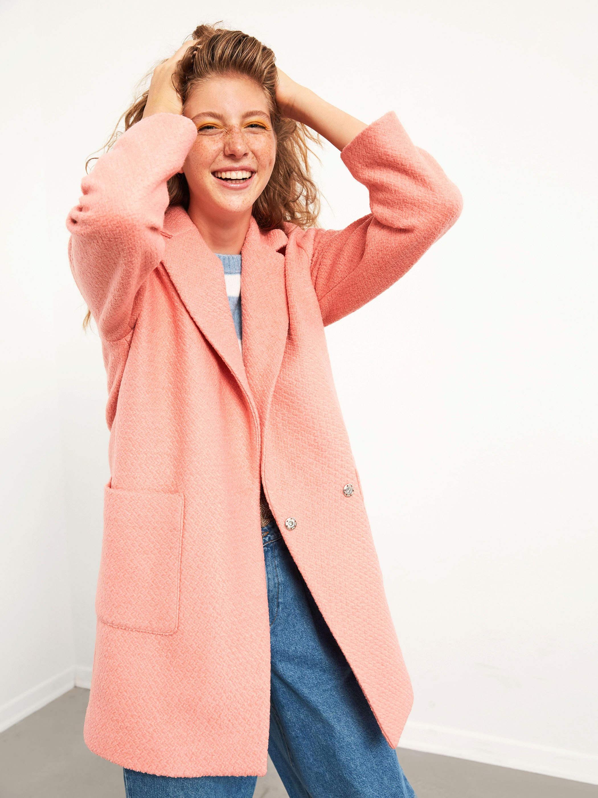 PINK - XSIDE Textured Fabric Thick Coat with Pockets - 0WDG44Z8