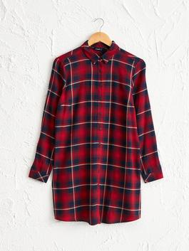 BORDEAUX - Chequered Viscose Tunic