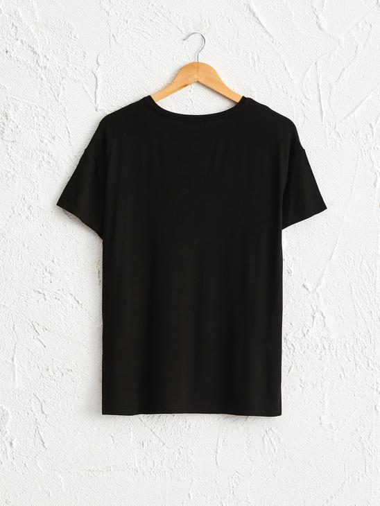 BLACK - Bright Letter Printed T-Shirt - 0WCD71Z8
