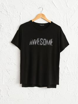 BLACK - Bright Letter Printed T-Shirt