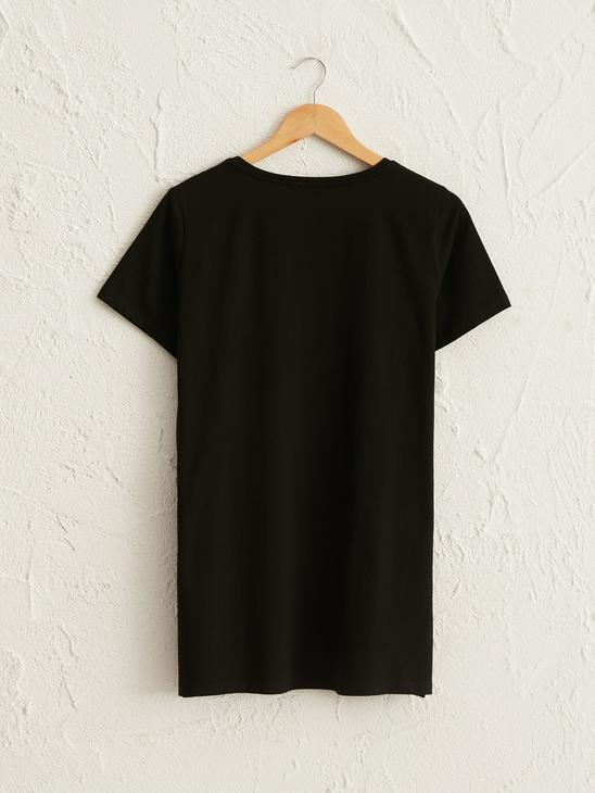 BLACK - Bright Letter Printed Cotton T-Shirt - 0WCD23Z8