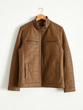BROWN - Neckband Faux Leather Short Coat