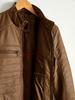 BROWN - Neckband Faux Leather Short Coat - 0W1980Z8