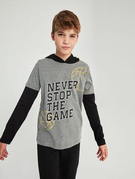 ANTHRACITE - Boy's Printed T-Shirt with Hood