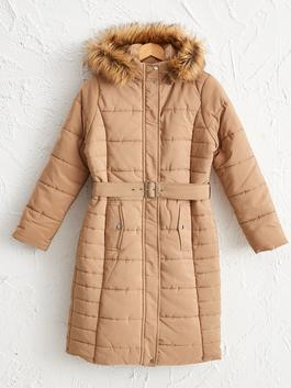 BEIGE - Waistband Heavy Short Coat with Hood - 0WH977Z8