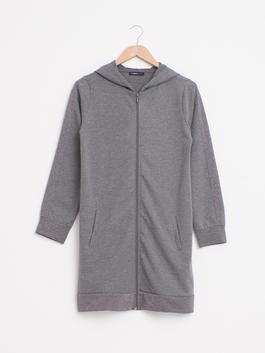 ANTHRACITE - Zip-Down Long Cardigan with Hood