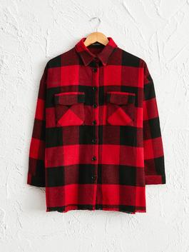 RED - Plaid Patterned Loose Thick Shirt