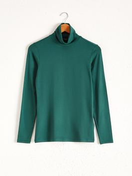 GREEN - Turtleneck Long-Sleeve T-Shirt