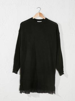 BLACK - Lace Detailed Plain Tricot Tunic