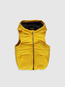 YELLOW - Baby Boy's Zip-Down Vest with Hood