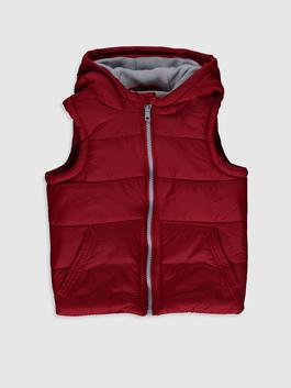RED - Baby Boy's Zip-Down Vest with Hood