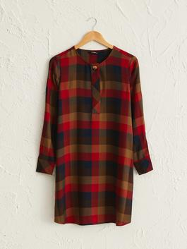 KHAKI - Chequered Loose Fit Tunic