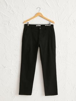 BLACK - Normal Fit Gabardine Chino Trousers
