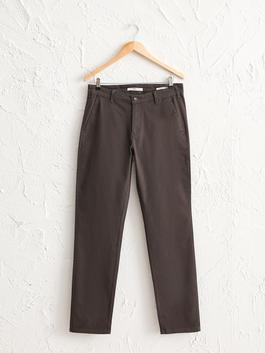 ANTHRACITE - Normal Fit Gabardine Chino Trousers