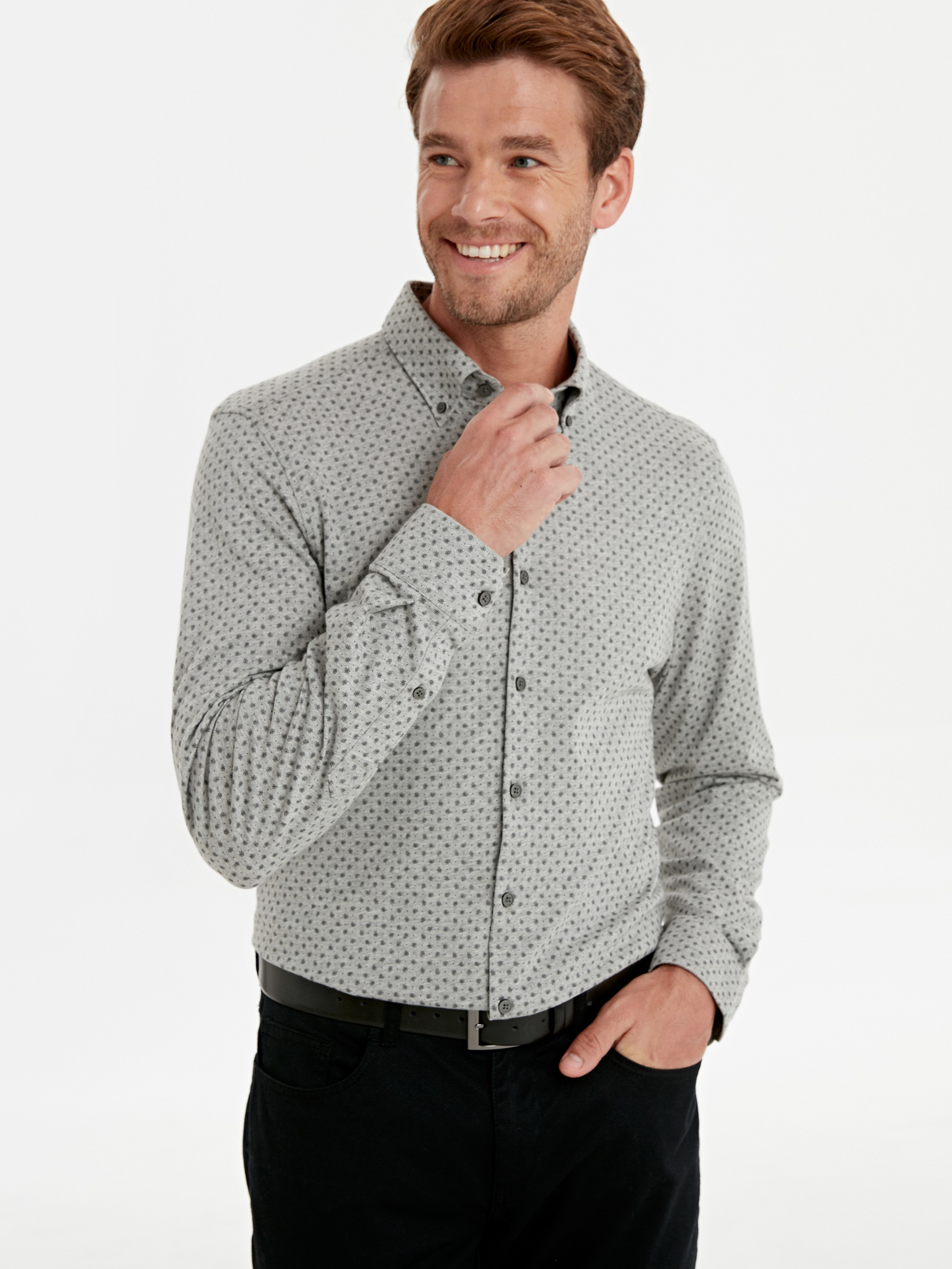 GREY - Slim Fit Long Sleeve Printed Knitted Fabric Shirt - 9W5883Z8