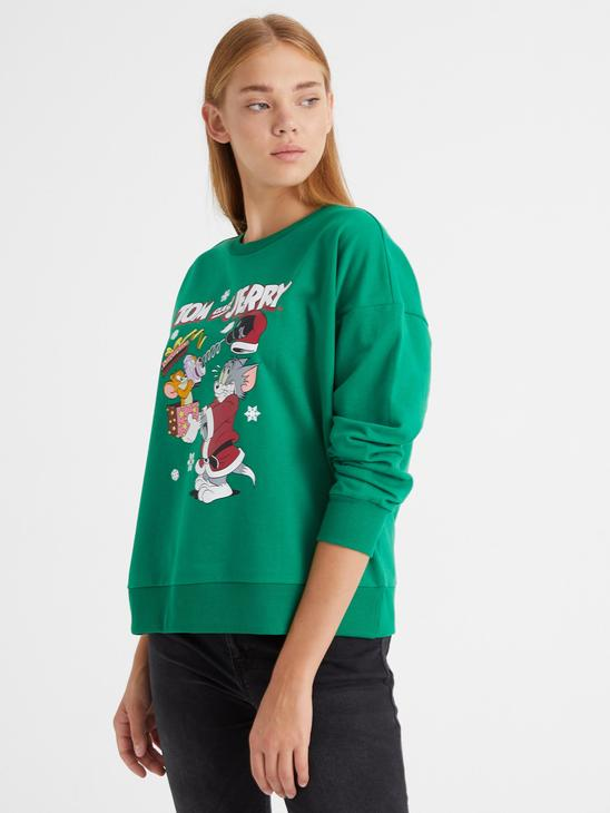 GREEN - Tom and Jerry Printed Sweatshirt - 0WDT31Z8