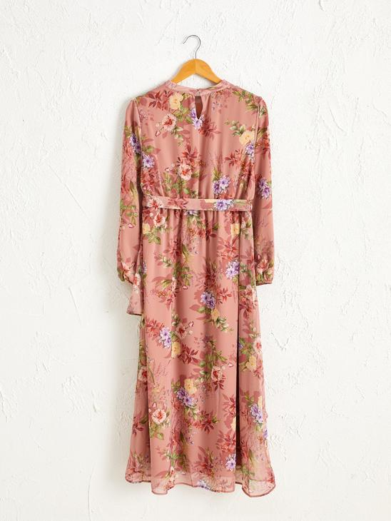 RED - Fastening Detailed Waist Floral Pattern Maxi Dress - 0WAF65Z8