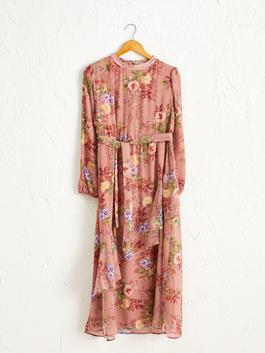RED - Fastening Detailed Waist Floral Pattern Maxi Dress