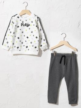 WHITE - Baby Boy's Printed Sweatshirt and Trousers