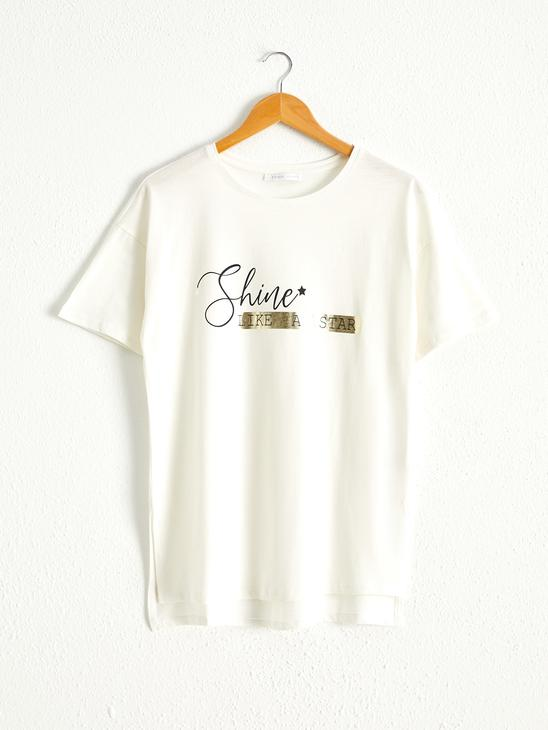 ECRU - Crew Neck Printed Short Sleeve Combed Cotton T-Shirt - 0WCD57Z8