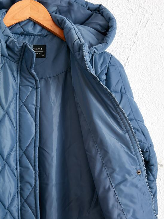 BLUE - Quilted Heavy Short Coat with Hood - 0W3111Z8