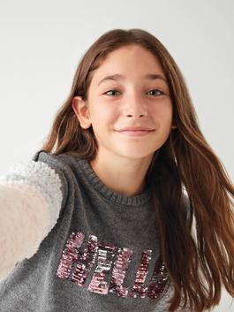 ANTHRACITE - Girl's Double-Sided Sequin Heavy Tricot Jumper