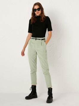 GREEN - Belted Carrot Fit Trousers