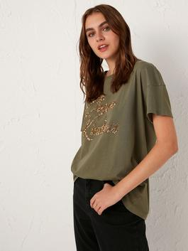 KHAKI - Sequined Letter Printed Cotton T-Shirt