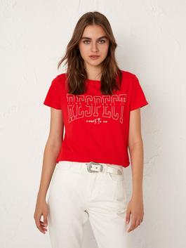 BORDEAUX - Printed and Short Sleeve T-Shirt