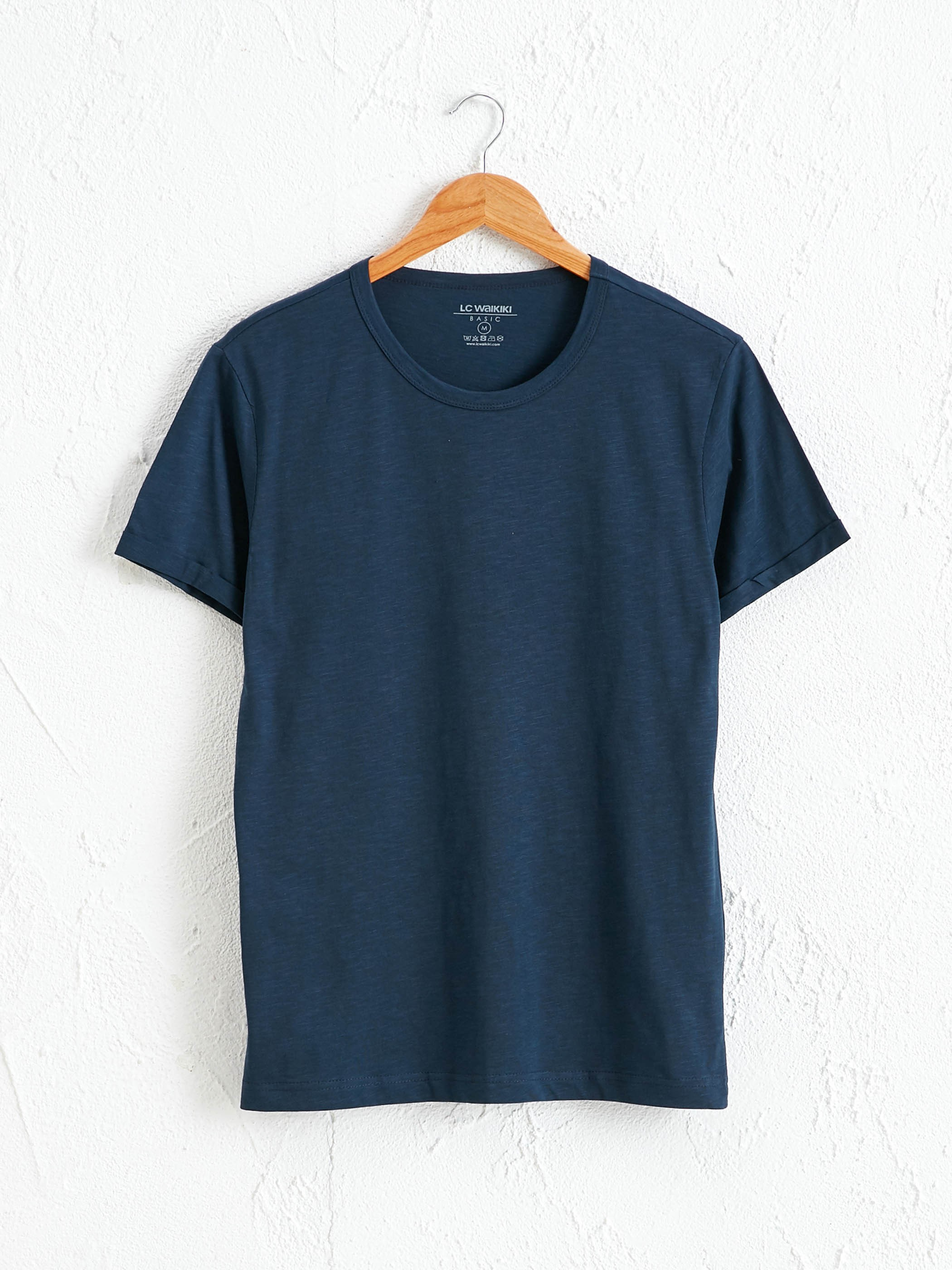 NAVY - Crew Neck Basic Combed Cotton T-Shirt - S11190Z8