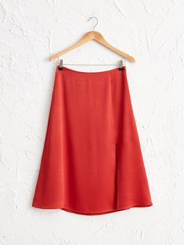 BROWN - A-cut Satin Skirt