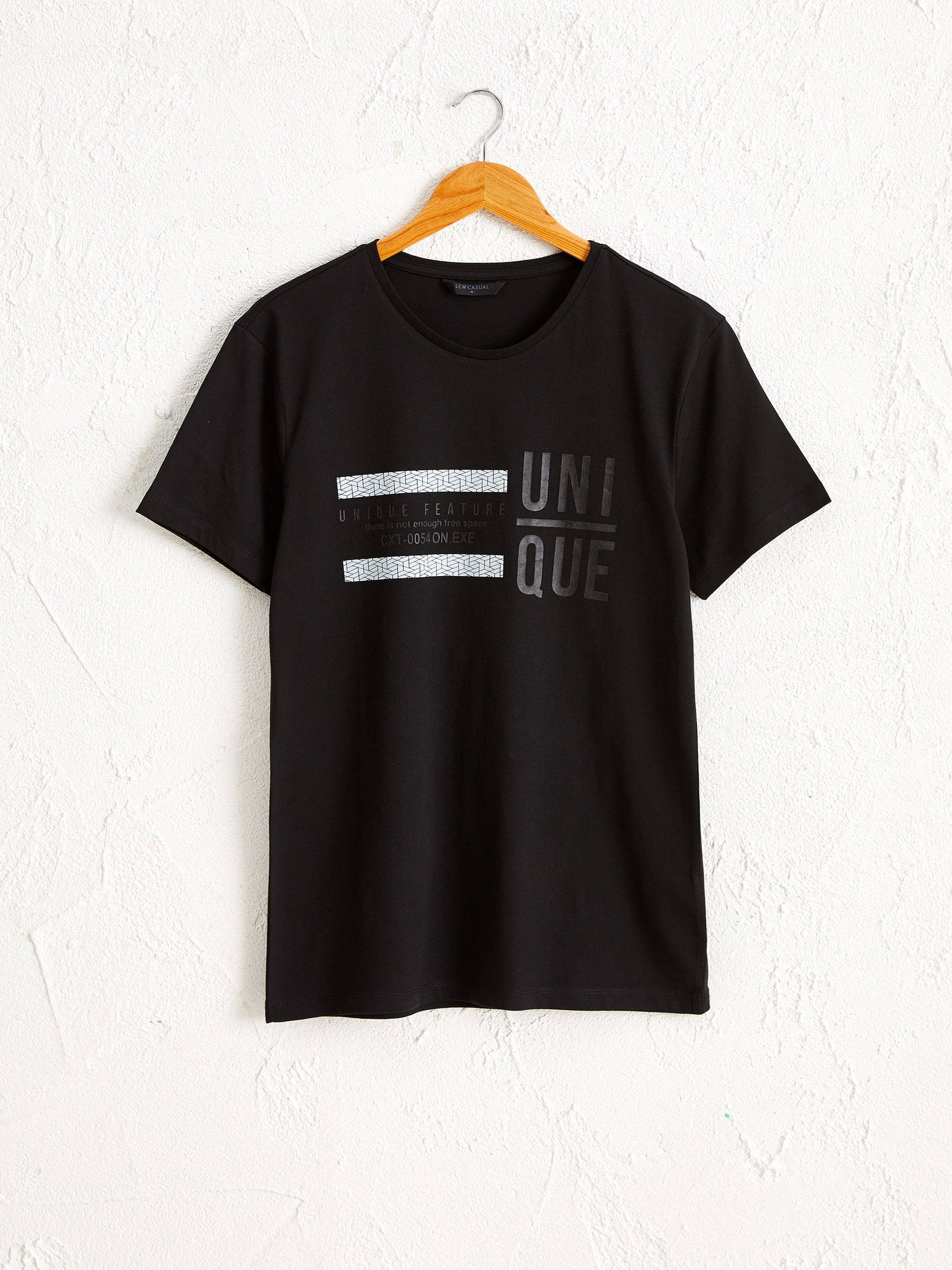 BLACK - Crew Neck Printed Combed Cotton T-Shirt - 0W4515Z8