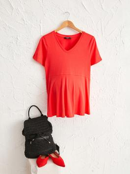 CORAL - V-Neck Cotton Maternity T-Shirt