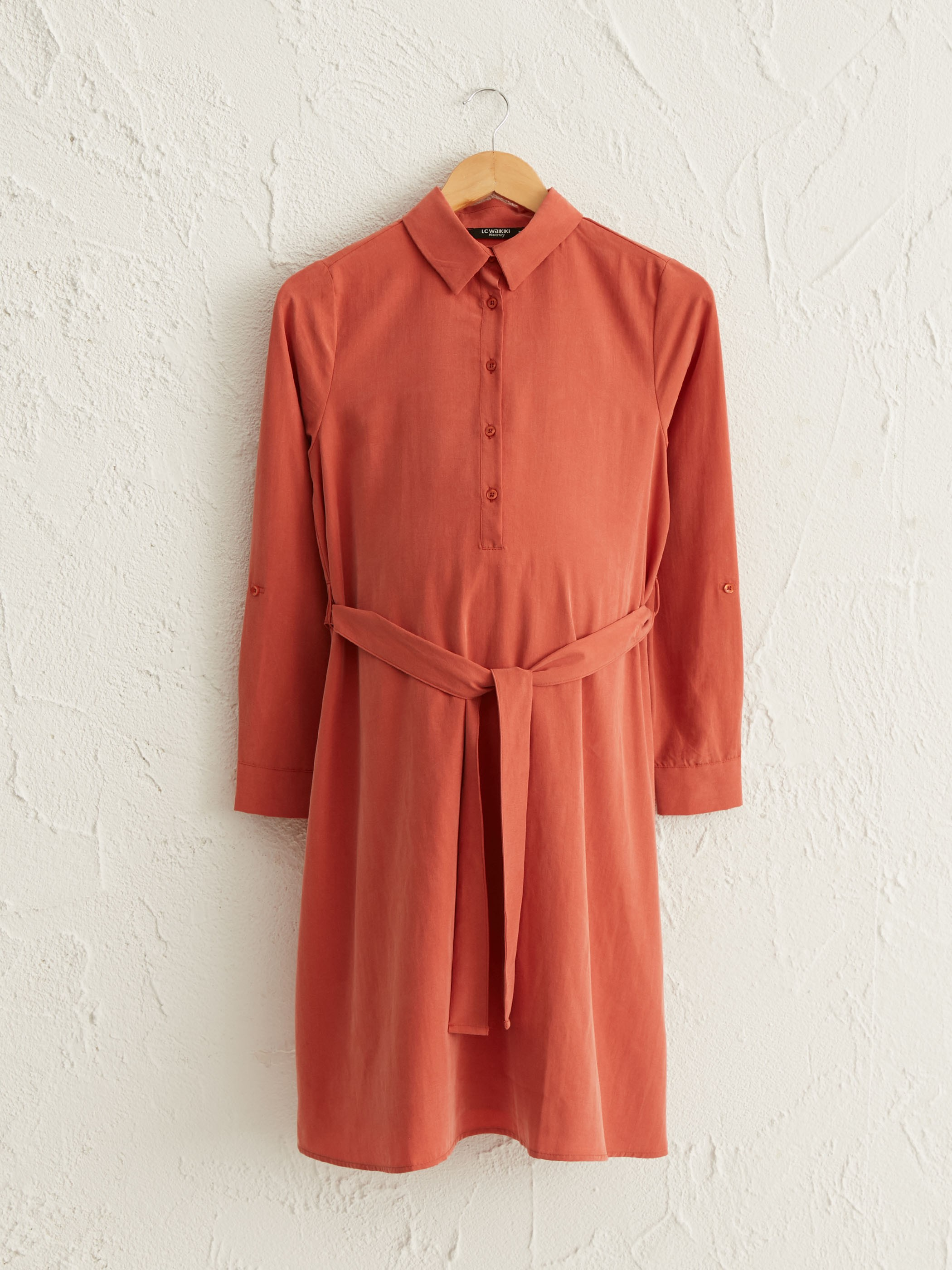 CORAL - Textured Fabric Belted Maternity Dress - 0WCJ03Z8