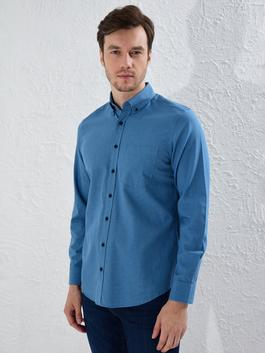 BLUE - Regular Fit Long Sleeve Gabardine Shirt