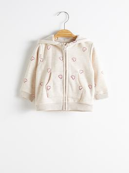 BEIGE - Baby Girl's Printed Zip-down Sweatshirt