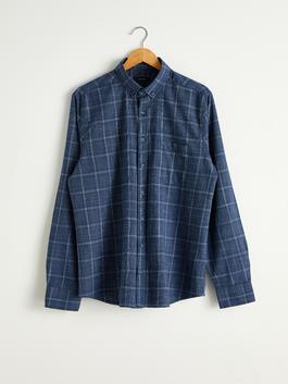 NAVY - Regular Fit Long Sleeve Chequered Shirt
