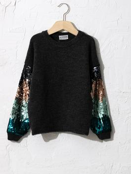 ANTHRACITE - Girl's Double-Sided Sequin Tricot Jumper - 0W9728Z4