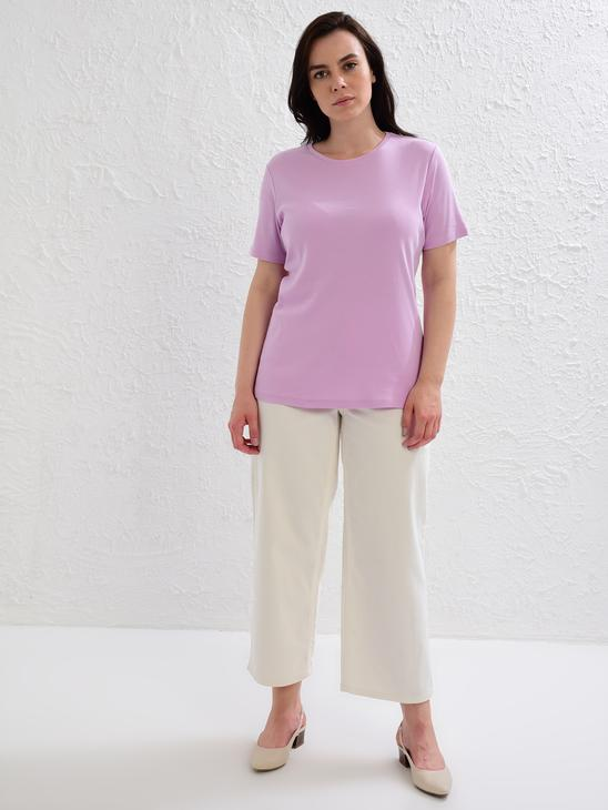 LILAC - Plain Basic Cotton T-Shirt - 0S2138Z8