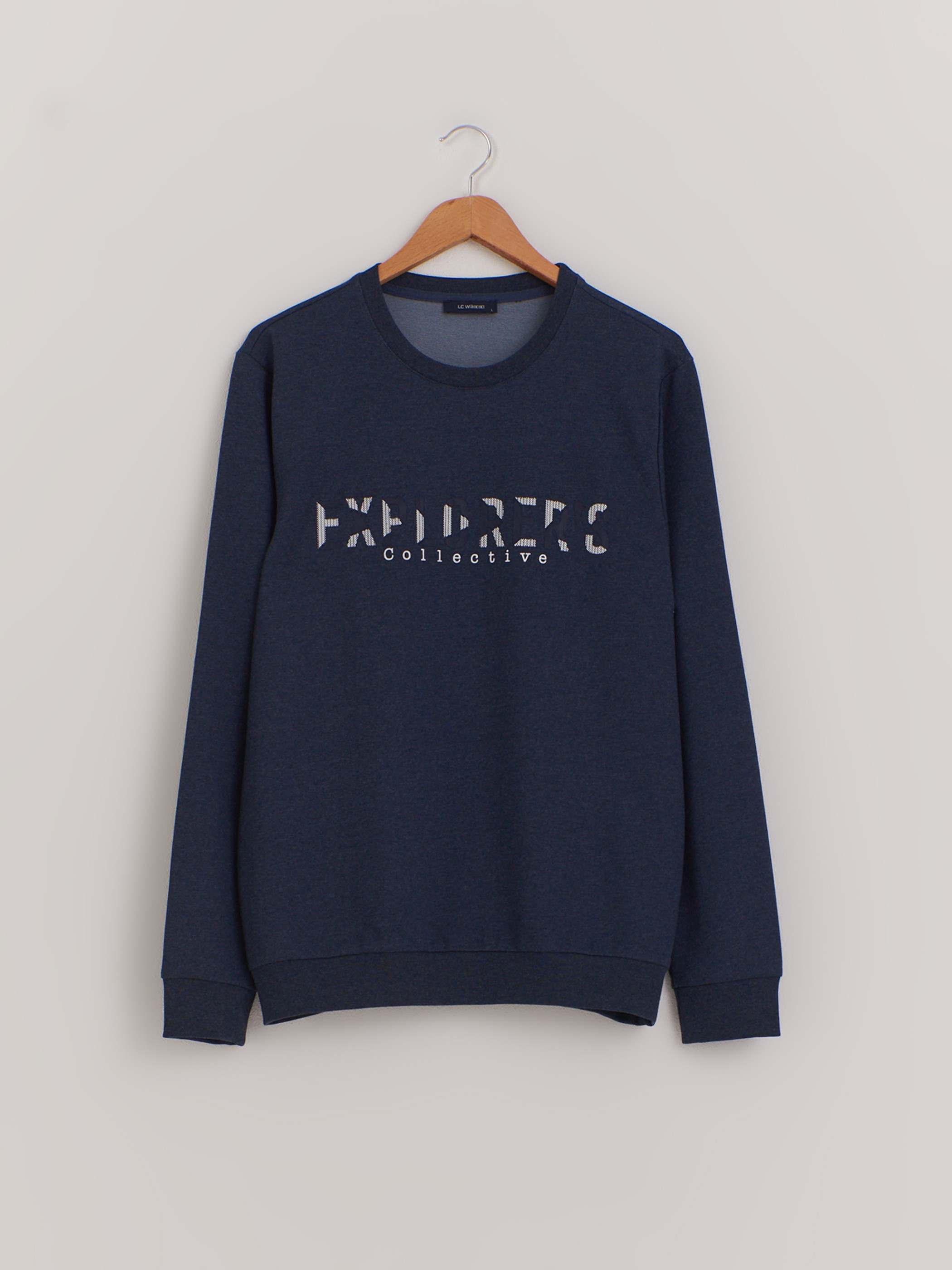BLUE - Crew Neck Printed Sweatshirt - 0W7235Z8