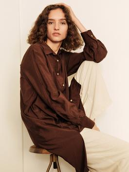 BROWN - Loose Fit Tunic made of Textured Fabric