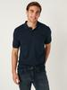 NAVY - Polo Neck Short Sleeve Combed Cotton T-Shirt - 0SQ642Z8