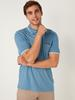 BLUE - Polo Neck Short Sleeve Combed Cotton T-Shirt - 0SQ641Z8